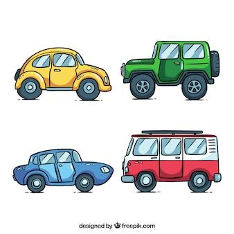 Zijaanzicht van vier verschillende auto's