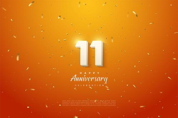 Zijn 11e verjaardag met een stralende nummerillustratie