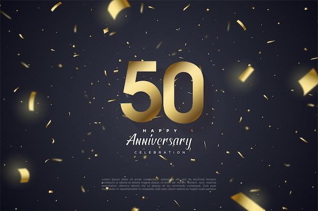 Zijn 50-jarig jubileum met goudkleurige papieren nummers en illustraties verspreid over de achtergrond