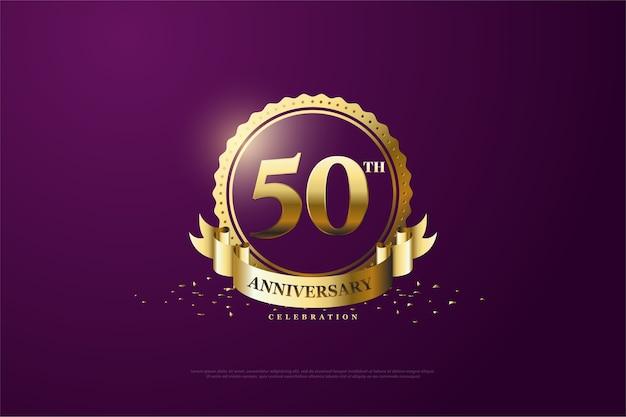 Zijn vijftigjarig jubileum met een paarse achtergrond en heldere gouden cijfers