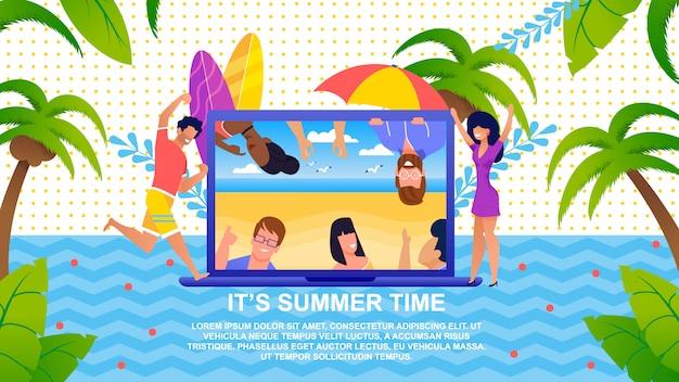 Zijn zomertijd belettering cartoon banner advertentierust