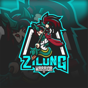 Zilongg warrior human esport mascot logo
