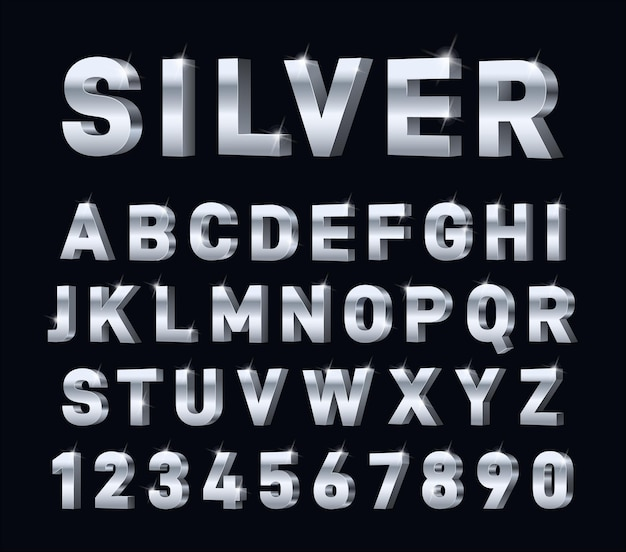 Zilver 3d-alfabet