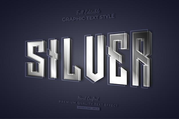 Zilver 3d bewerkbare teksteffect lettertypestijl