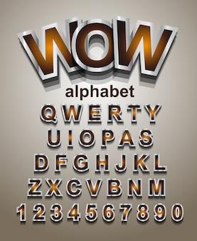 Zilver effect alfabet lettertype met letters en cijfers