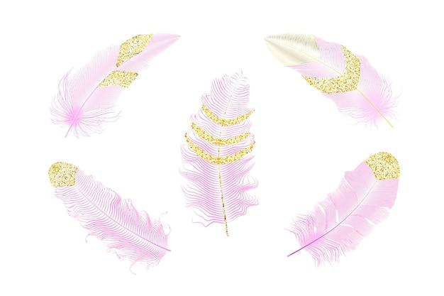 Zilver en goud glitter veren. boho stijlelementen