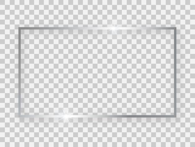 Zilver glanzend 16 x 9 rechthoekig frame met gloeiende effecten en schaduwen op transparante achtergrond. vector illustratie