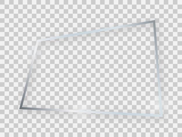 Zilver glanzend rechthoekig frame met gloeiende effecten en schaduwen op transparante achtergrond. vector illustratie