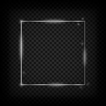 Zilver gloeiend frame metalen glanzende vierkante banner op transparante achtergrond