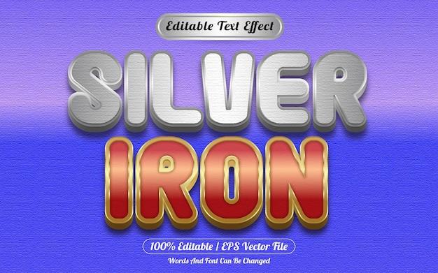 Zilver ijzer bewerkbare teksteffect sjabloonstijl