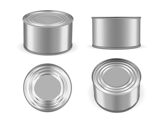 Zilver metalen blikje geïsoleerd op een witte achtergrond mock up vector