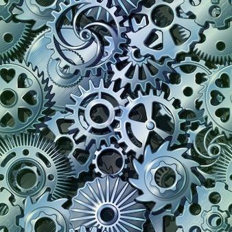 Zilver metalen tandwielen patroon