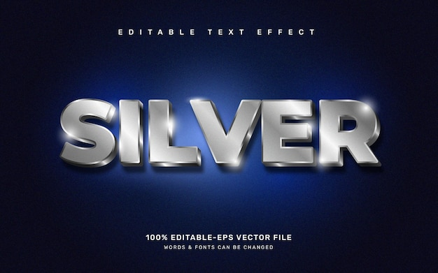 Zilver teksteffect, bewerkbare letterstijl