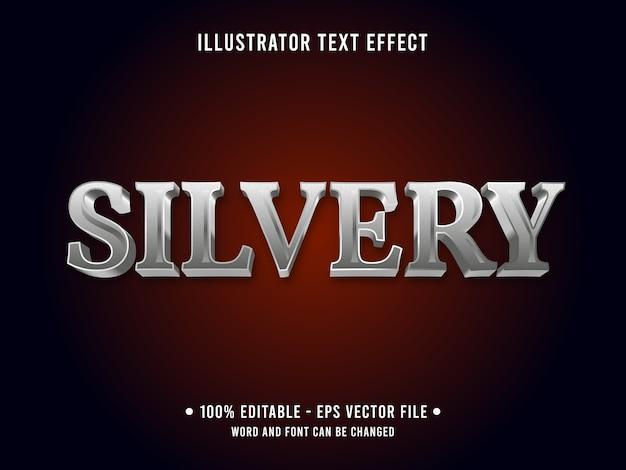 Zilverachtig bewerkbaar teksteffect 3d metallic stijl met strookkleur