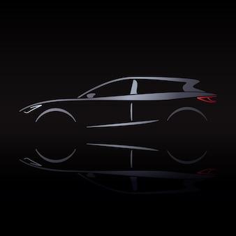 Zilverachtig silhouet van auto op zwarte achtergrond met reflectie.
