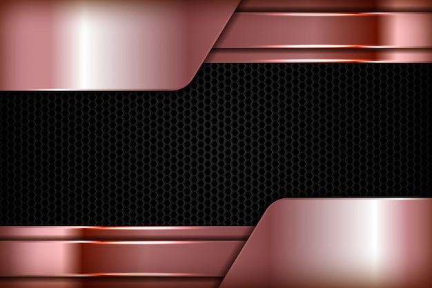 Zilverbruine abstracte dimensie op zwarte zeshoek textuurachtergrond. realistische overlappende laagentextuur met de decoratie van het lichtenelement.