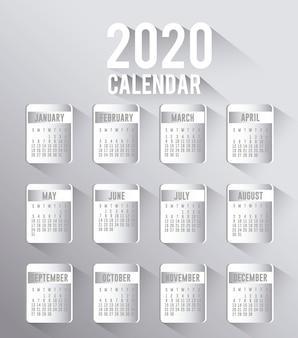 Zilveren 2020 kalender planner vector ontwerp