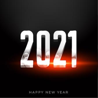 Zilveren 2021 gelukkig nieuwjaar achtergrond met lichteffect