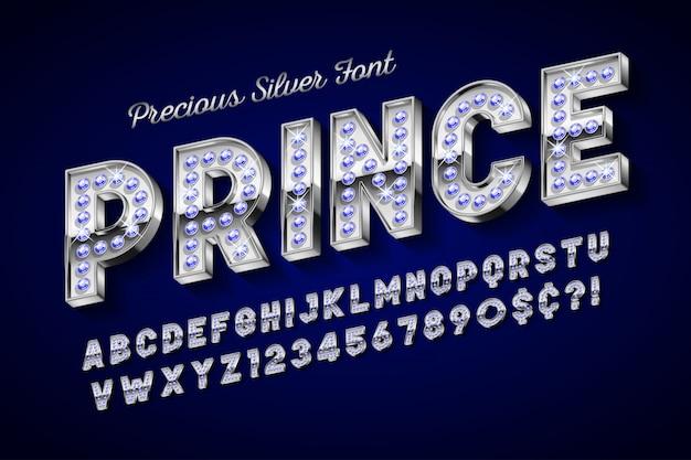 Zilveren 3d lettertype met edelstenen, gouden letters en cijfers.