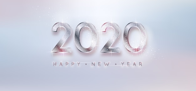Zilveren achtergrond nieuw jaar 2020