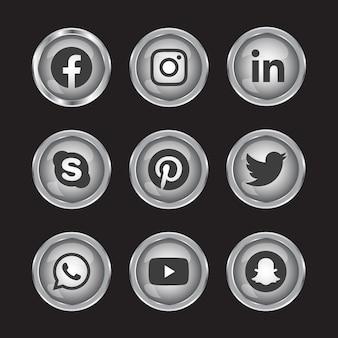 Zilveren balck en witte vaste glanzende 3d sociale media verloopknop ingesteld met ronde pictogram van sociale media-logo