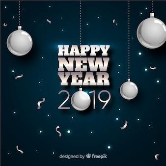 Zilveren ballen nieuwe jaarachtergrond