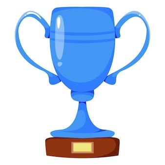 Zilveren beker van blauwe kleur beloning voor overwinning vectorillustratie in cartoonstijl
