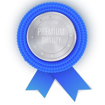 Zilveren beste prijsbadge met blauw lint