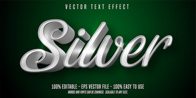 Zilveren bewerkbare tekstillustratie in plat ontwerp