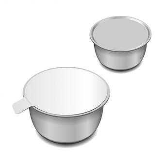 Zilveren blanco metalen blik voor paté, vis, vlees, bonen en andere producten.