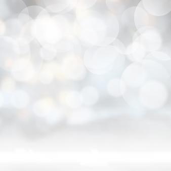 Zilveren bokeh licht achtergrond