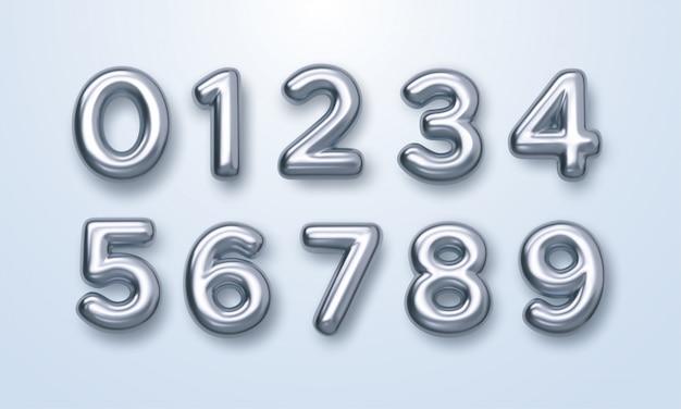 Zilveren cijfers ingesteld. 3d-afbeelding. realistische glanzende karakters. geïsoleerde cijfers. decoratie-elementen voor banner, cover, verjaardag of jubileumfeest uitnodiging ontwerp