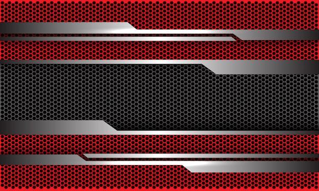 Zilveren circuit rode donkergrijze zeshoek mesh futuristische technische achtergrond.