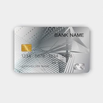 Zilveren creditcardontwerp. met inspiratie van abstract.