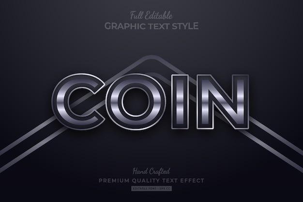 Zilveren elegante bewerkbare premium teksteffect lettertypestijl