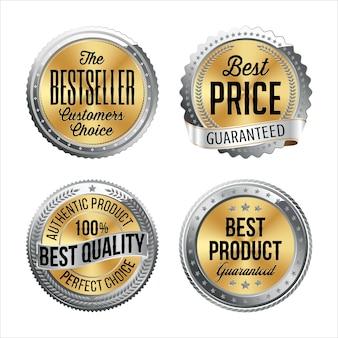 Zilveren en gouden badges. set van vier. bestseller, beste prijs, beste kwaliteit, beste product.