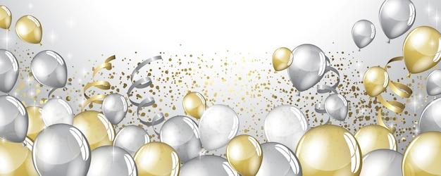 Zilveren en gouden ballonnen achtergrond