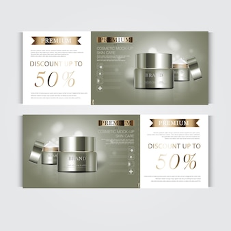 Zilveren en gouden crème masker fles geïsoleerd op glitter deeltjes achtergrond banner sierlijke cosmetica