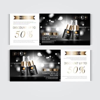 Zilveren en gouden serummaskerfles geïsoleerd op glitterdeeltjesachtergrond banner sierlijke cosmetica