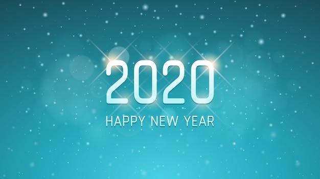 Zilveren gelukkig nieuw jaar 2020 met sneeuwvlokken op uitstekende blauwe kleurenachtergrond