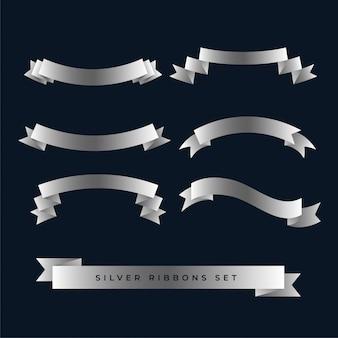 Zilveren glanzende 3d geplaatste linten