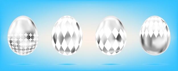 Zilveren glanzende eieren op hemelsblauw