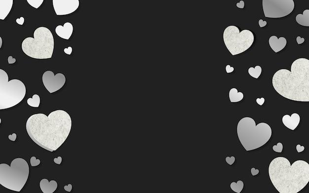 Zilveren harten achtergrondontwerpvector