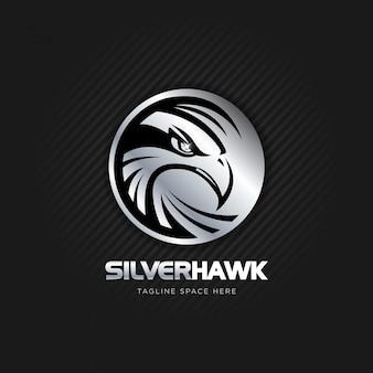 Zilveren havik logo ontwerp