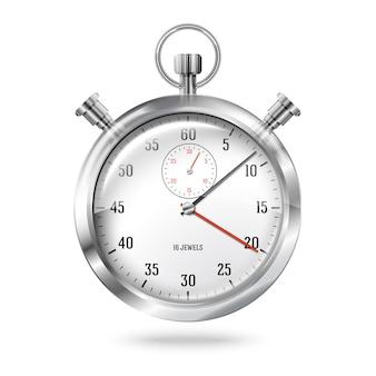 Zilveren heldere stopwatchklok die op witte achtergrond wordt geïsoleerd