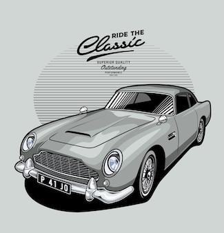 Zilveren klassieke auto