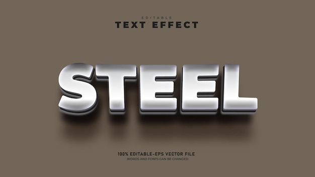 Zilveren kleurverloop bewerkbare 3d-teksteffectsjabloon