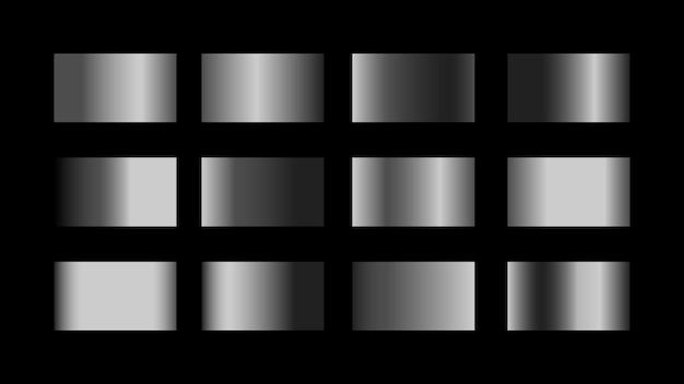 Zilveren kleurverloop kleurstalen set geïsoleerd op zwarte achtergrond voor glanzend metallic grafisch ontwerp