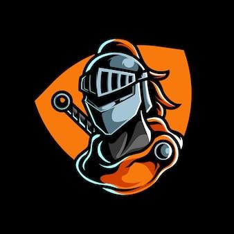 Zilveren knight e sport mascot-logo
