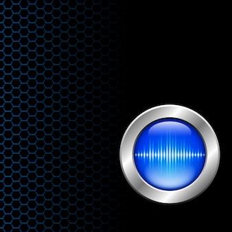 Zilveren knop met geluidsgolf teken